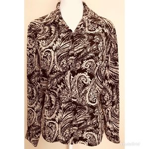 Jones Wear Brown and Tan Paisley Button Up Blouse